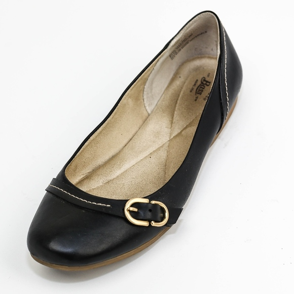 G.H. Bass & Co. Shoes - G.H. Bass & Co Black Faux Leather Flats Buckle